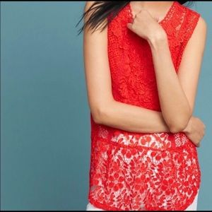 Anthropologie Lace Front Top